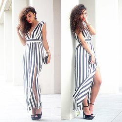 Larissa B. - Deezee Cut Out Wedge Heels, In Love With Fashion Black White Stripe Maxi Dress - Monochrome maxi