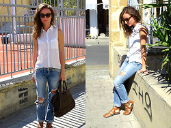 Melina Vou - Tally Weijl White Button Down Shirt, Diy Ripped Jeans, Asos Leather Sandals - Run me out