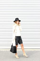 Vee Vee - Primark Black Felt Fedora Hat, Asos Sleeveless Roll Neck Jumper, Primark Beige Trench Coat, Forever 21 Faux Leather Bemuda Shorts, Daniel Footwear Minimal Black Leather Bag - In the Trenches.