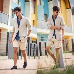 Alberto Mason - Zara Cardigan, Pull & Bear Shirt, H&M Bermuda, Brogue, Zerouv Sunglasses, Daniel Wellington Watch - Multicolor