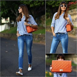 Marianela Yanes - H&M Shirt, Lusstra Bag, Mango Sunglasses, Zara Slippers - Orange Bag