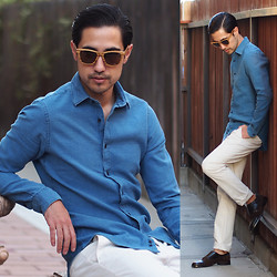 Michael - Zara Shirt, Woodzee Lobo Sunglasses - Ocean Blue
