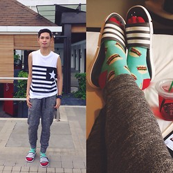 Rhonnel Tan Santos - Adidas Slippers, Topman Socks, Forever 21 Jeggings - 100414