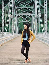 Serena J - H&M Black Beret, Banana Republic Mustard Yellow Cardigan, Divided Light Blue Sleeveless Top, Forever 21 Navy Blue Shorts, Steve Madden Leather Boots - New River Gorge