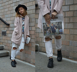Kyleen Sanchez - H&M Black Fedora, Zara Choker, H&M Coat, Divided Shoes - Read It and Weep.