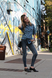Liz Benichou - Uniqlo Denim Button Down, Just Usa Skinny Jeans, Chanel Vintage Bag, H&M Western Booties - Canadian Tux