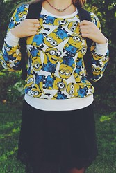 Daria Danilevich - Primark Sweater, Zara Lacy Dress - Minions are our everything