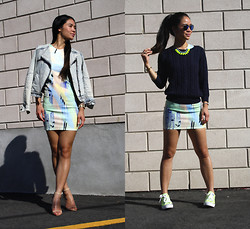 Tweety Ho - Zara Jean Jacket, Zara Neoprene Bodycon Dress, Zara Nude Heels, H&M Sweater, Converse Neon All Star - 1 Dress| 2 Ways