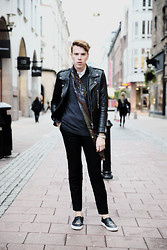 John-John Wallmansson - The Kooples Leatherjacket, Uniqlo Cardigan, Givenchy Pants, Massimo Dutti Scarf, Givenchy Shoes - Stockholm