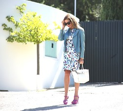 Nina Papaioannou TRENDSURVIVOR - Saint Laurent Sandals, Talulah Floral Dress - Futuristic Florals