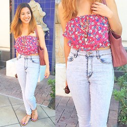 Bea Liongson - Charlotte Russe Floral Sheer Cropped Top, Pacsun Acid Wash Jeans - Victoria