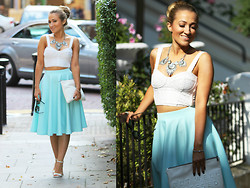 Monica B. - New Look Mint And Silver Necklace, Asos Full Midi Skirt, Topshop White Lace Crop Top, River Island Barely There Heels, Zara White Clutch - Call Me Carrie
