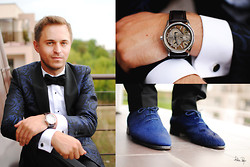 G R - Fossil Watch, Nedelcu Marian Shoes, Massimo Dutti, Popties Bow Ties, Ego Fashion, Loius Purple - Wedding #1