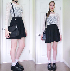 Raquel Teichroeb - Grey Circle Skirt, Forever 21 Lace Top, Lace Socks, Demonia Skull And Cross Bones Creeper Platforms, Velvet Pearl Pendant Choker, Bag - In Fear and Faith