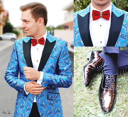 G R - Popties Bow Ties Tie, Nedelcu Marian Shoes Metal Brown, Louis Purple Suits, Ego Fashion Shirts - Wedding #2
