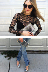 L.K. Britton - Chinatown Jewelled Headdress, Chinatown Lace Turtleneck, Chinatown Mixed Metallic Clutch, H&M D.I.Y. Distressed Denim, Aldo Silver Stilettos - Mortician Lace