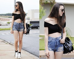 Gabriela Araujo - H&M Sunnies, Yesfor Cross Off Shoulder Top, Yesfor High Wais Denim Short, Yesfor Leather Backpack, Topshop Socks, Sammydress Platform - How Soon Is Now?