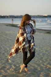 L T - Monki Cape, Esprit Blouse - Sundown at the beach.