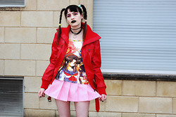 †Norelle Rheingold† - Ebay Anime Tee, School Uniform (Pink) Skirt, Fashioncannotdie Tattoo Choker (Black), Thrift Shop Leather Jacket (Red) - Don't fuck with my expectations.