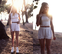 Jessica Christ - Style Moi Crop Top, Choies Chain Headband, Shellys London Booties - White on white