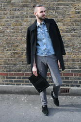 Geraint Donovan-Bowen - Topman Coat, Topman Shirt, Topman Tie, Blitz Vintage Denim Gilet, Joseph Trousers, Topman Clutch, Underground Creepers - His Name Is Denim Details
