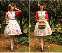 Tyler H - Lily Of The Valley Sweet Martryoshka Jsk, Outlet Mall Red Polka Shirt, Ebay Red Bow Belt, Ebay Polkadot Stockings, Clarks Brown Heels, Bow Clips, Thrifted House Purse, Ebay White Lace Collar, Vintage Pressed Flower Pin, Avon Eggplant Necklace, Thrifted Straw Boater Hat, Lily Of The Valley Acorn Corsage - Fairy Tale Cottage