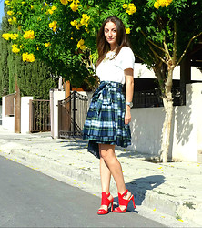 Melina Vou - Sarah Berman Dress Worn As Skirt, Zara Red Heels - Tartan Crush