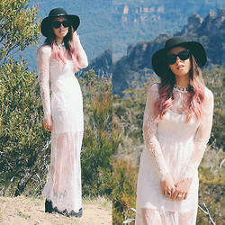 Joey - Asos Hat, Sportsgirl Sunglasses, Bossy The Label X Minc Collections Choker, Topshop Rings, Style Hub Lace Maxi Dress, Windsor Smith Alien Boot - Never Love A Cowboy