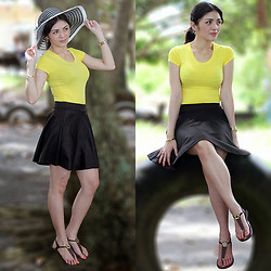 Emafe Rice - Surplus Summer Hat, Tiangge Yellow Shirt, Juicy Couture Gold Watch, Gold Bangle, Tiangge Round Skirt, Tiangge Flat Sandals - It Feels like Summer