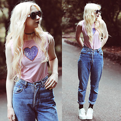 Kayla Hadlington - Charity Shop Jeans - SEQUIN HEARTS