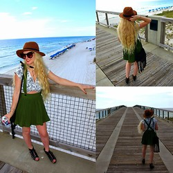 Ravyn Alyxandra - Materialgirl Cut Out Wedges, Sheinside Pinafore, H&M Brown Fedora, Target Fringe Bag, Zerouv Wolf Inspired Sunnies - My Birthday at the Beach