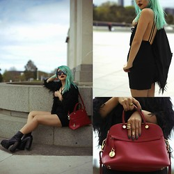 Anna Bell - Wild Pair Playsuit, Furla Cherry Red Leather Bag, Forever 21 Rings, Jeffrey Campbell The Mulder Platform Boots, Le Specs Neo Noir, Unknown - #JETBLACK