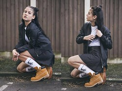 Kriste Mima - Timberland Shoes/Boots, Stüssy Stussy Soxs, Etsy Fluffy Earrings, Misguided Fishnet White Shirt, Topshop Bomber Light Jacket - Ghettogothic #kristepanemima badass