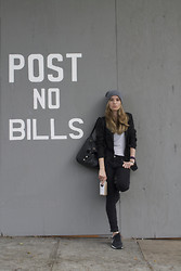 Liz Benichou - Theory Shirt, Kill City Skinny Jeans, Uniqlo Cotton Blazer, Nike Sneakers, Topshop Bucket Bag, Forever 21 Grey Beanie - Post No Bills