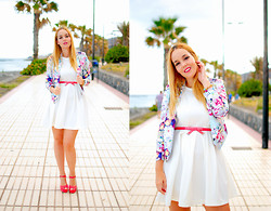 Nery Hdez - Mart Of China Blazer, Lovely Whole Sale Dress, Massimo Dutti Belt, Primark Sandals - Colorful Petals