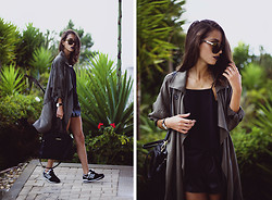 Sofia Reis - Zerouv Sunnies, Forever 21 Trench, H&M Top, Adidas Shorts, Lamoda Bag, New Balance Sneakers - TRENCH THING