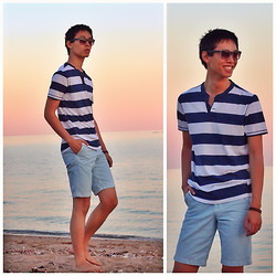 Andrew Best - Express Shades, Abercrombie & Fitch Striped Tee, Abercrombie Shorts - Beach Casual