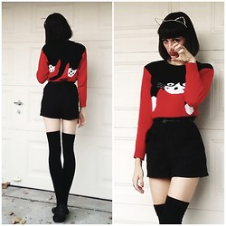 Adrianna DeVillacian - Cat Sweater, Cat Ears, Thigh High - Everybody Wants To Be A Cat