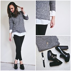 Lou-Ann A - New Look Grey Sweater, Stradivarius White Shirt, Daniel Wellington Watch, Esprit Pants, Stradivarius Bae - SO BRITISH