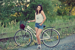 Susanna Vesna - Iconic Mesh/Lace Tank, Gap Grey Tank Top, Topshop Denim High Waist Shorts, Atmosphere Metallic Sneakers, Aldo Heart Pendulum - By Train or Bike, I Will Get To You