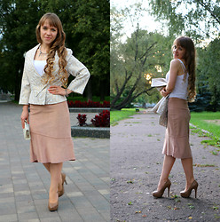 Veronica Kravtsova - Mandolini Jacket, Serge Top, Unknown Brand Skirt, Betsy Heels, Unknown Brand Clutch - LUXURY COMFORT