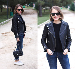 Trini Gonzalez - Ray Ban Sunglasses, The Kooples Jumper, The Kooples Leather Jacket, Rag & Bone Jeans, Chanel Bag, Superga Sneakers - Fall 2014