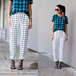 Macarena Ferreira - Windsor Pants, Forever 21 Top, Shoe Dazzle Shoes, Ray Ban Sunglasses - Check and Check.