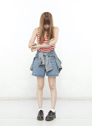 Shaira Luna - Cotton On Striped Tank, Levi's® Denim Jacket, Bill Blass High Waisted Denim Shorts, White Socks, Dr. Martens Wingtip Brogues - Scrapes
