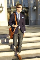 Wylie Fresne - Ray Ban Glasses, Collard Greens Pocket Square, Pocket Square Clothing Tie, Civilianaire Jeans, Giorgio Brutini Shoes, Satch And Fable Bag, Wellington Watch - Suit And Selvedge