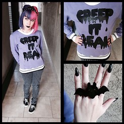 Anna Delao - Forever 21 Studs Headband, Handmade Creep It Real, Vans, Sweet & Sour Bat Ring - Creep it real