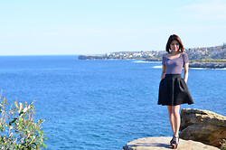 Alice_Alice&Leon . - Nude Lucy Off Shoulder Stripes Tee, Topshop Scuba Skirt, Silver Ring And Necklace From Sail Away Collection - Coogee breeze