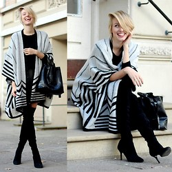 Leonie Hanne - Y.A.S. Graphic Skirt, Zara Cape, Zara Overknees, All Saints Cashmere Sweater, Zara Bucket Bag - Ca(r)pe diem!