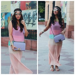 Surbhi Suri - Thrifted Blouse, Chanel Bag, Platinum Mall Bangkok Sheer Skirt, Platinum Mall, Bangkok Studded Flats, Forever 21 Cuff, Forever 21 Boho Headband, Guess? Clear Sunnies - Head to Toe in Pastels