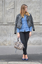 Tina Gallo - Zara Stiletto, Mango Biker Jacket, Roccobarocco Leopard Print Bag, Calvin Klein Denim Shirt, Cheap Monday Skinny Denim - BLACK,BLUE AND A TOUCH OF LEO